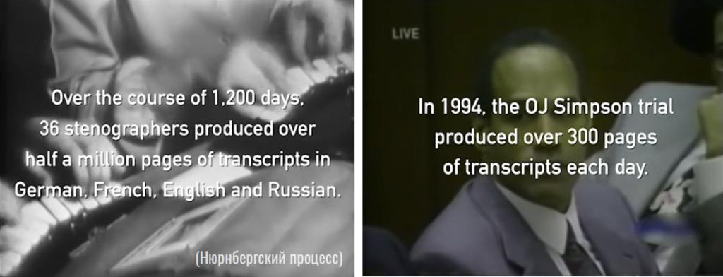 Объем работ стенографистов на громких судебных процессах _Нюрнбергский процесс _процесс Симпсона